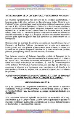 Mujeres de Guatemala instan a avalar cambios a ley electoral